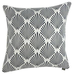 Palm Metallic Cushion Cover, White and Black
