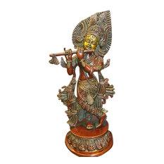 Mogulinterior - Hindu Idol Krishna Brass Statue Figurine Red Patina Sculpture 13 Inch - Decorative Objects And Figurines