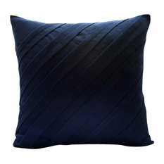 Textured Pintucks 16x16 Faux Suede Navy Blue Accent Pillows, Contemporary Navy