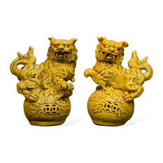 Chinese Porcelain Foo Dogs in Yellow Glaze, Set of 2