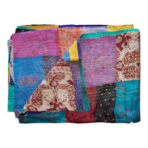 Kantha Silk Throw Quilt Blanket, 60