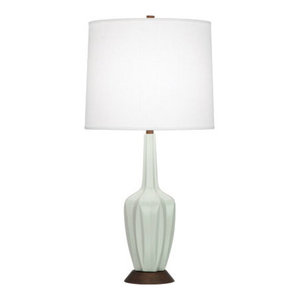 Robert Abbey Cecilia Walnut And Oyster Linen Shade Table