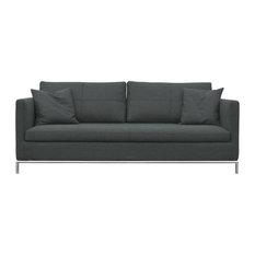 Istanbul Sofa, Stainless Steel Base, Dark Gray Camira Wool
