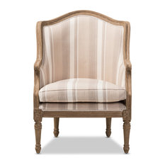 Baxton Studio   Baxton Studio Charlemagne Traditional French Accent Chair,  Oak (Brown Stripe