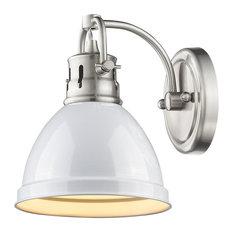 Duncan 1-Light Vanity Fixture, Pewter, Pewter/White