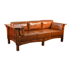 Crafters And Weavers   Mission Crofter Style Solid Quarter Sawn Oak And  Leather Sofa, Brown