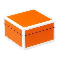 Lacquer Small Square Box, Orange and White