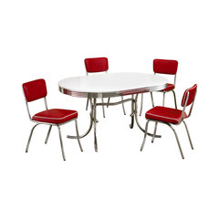 Retro 1950u0027s Oval Dining Table And Red Chair 5 Piece Set. Contemporary  Dining Room Sets