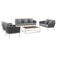 Stance 5-Piece Outdoor Patio Aluminum Sectional Sofa Set, Gray