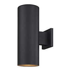 Cylinder Up/Down Outdoor Wall Light, Powder Coated Black Finish