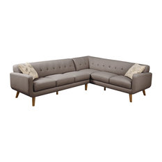 Emerald Home Remix 2-Piece Sectional, Brown
