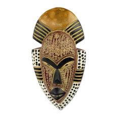 African Wood Mask, 'Ghana's Happiness', Ghana