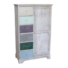 Solid Wood Country Pantry Cupboard, Multicoloured