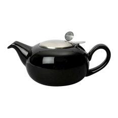 London Pottery Pebble Filter Teapot, 1.1 Litres, 4 Cup, Plain Gloss, Black