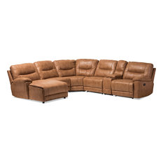 Mistral Modern and Contemporary Palomino Suede Sectional Set, Light Brown