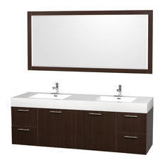 "72"" Double Vanity, Espresso, Acrylic Resin Top, Integrated Sinks, 70"" Mirror"