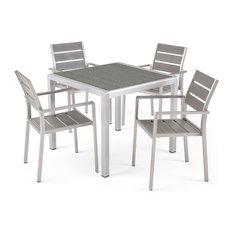 Gaven Outdoor Modern Aluminum 4-Seater Dining Set With Faux Wood Seats