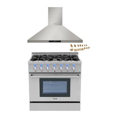 "36"" Gas Range, 36"" Wall Mount Hood, Thor Kitchen Bundle, Propane Gas"