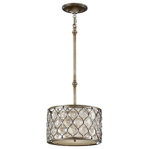 Burnished Silver 1-Light Pendant With Linen Shade