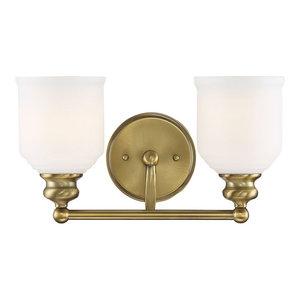 Savoy House Melrose 2-Light Bath Bar 8-6836-2-322, Warm Brass