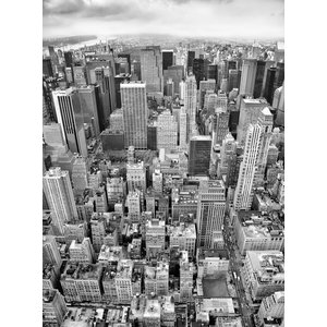 Uptown New York Black and White Skyline Photo Wall Mural, 184x248 cm