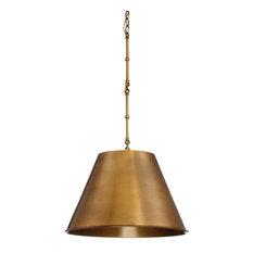 "1-Light Pendant, Warm Brass, 18.25"""