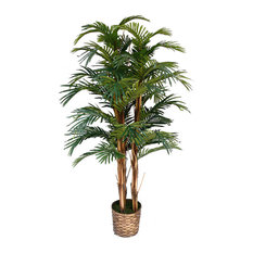 "60"" Tall Palm Artificial Tree Lifelike in Bamboo Wicker Planter"