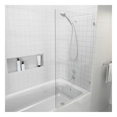 Bath Tub Frameless Stationary Glass Panel, Brushed Nickel