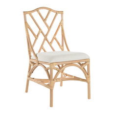 Rattan Chippendale Upholstered Dining Chair, Set of 2, Natural