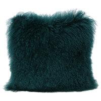 Marybelle Shaggy Dark Teal Lamb Fur Square Throw Pillow, Large, Single