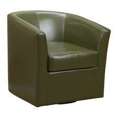 GDFStudio   Corley Tea Green Leather Swivel Club Chair   Armchairs And  Accent Chairs
