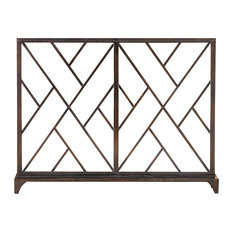 Chinoise Fret Tabletop Panel, Vertical, Bronze