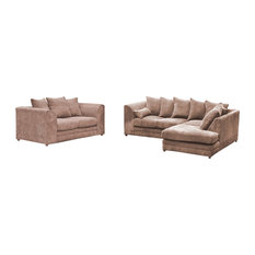 Darcey Coffee Cushioned Sofas, Right Facing, 2-Piece Set