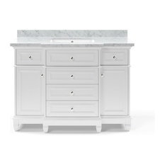 Campbell Bathroom Vanity With Drawers, White, 48""