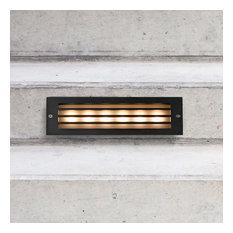 """10"""" Modern Low-Voltage 6-Watt Integrated LED Outdoor Steps Light, Matt Black"""