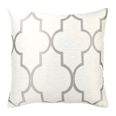Paxton Feather and Down Throw Pillow, Light Gray Jacquard Fabric