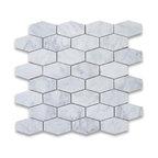 "12""x12"" Carrara White Elongated Hexagon Mosaic Tile Honed, Chip Size: 1.25""x3"""
