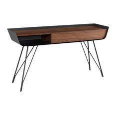 59-inch W Console Table Walnut Veneer Angled Titanium Legs Single Drawer Modern