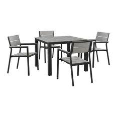 Maine 5-Piece Outdoor Aluminum Dining Set, Brown Gray