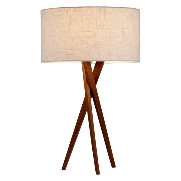 Walnut Table Lamp With Yellow Linen