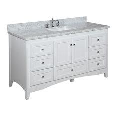 "Abbey 60"" Bath Vanity, Base: White, Top: Carrara Marble, Single Vanity"