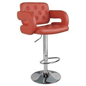 Modern Stylish Bar Stool Upholstered, Faux Leather, 360 Degrees Swivel, Red