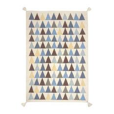 Triangles Kilim Children's Rug, Blue, 110x160 cm