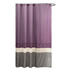 Lush D_cor   Mia Stripe Shower Curtain, 72  Purple And Grey Shower Curtain