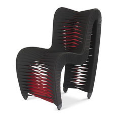 """26""""W Seat Belt Dining Chair Woven Black and Red Fabric"""