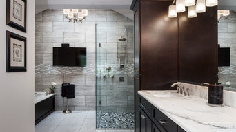 Bathroom remodel with vanity mirrors and shower doors