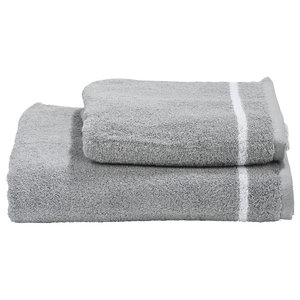 1 Star Towel Collection, Silver and White, Set of 2
