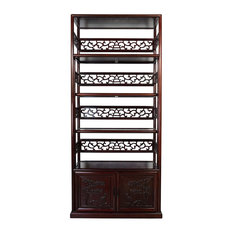 Consigned Vintage Chinese Hand Carved Rosewood Book Shelf/Display Cabinet