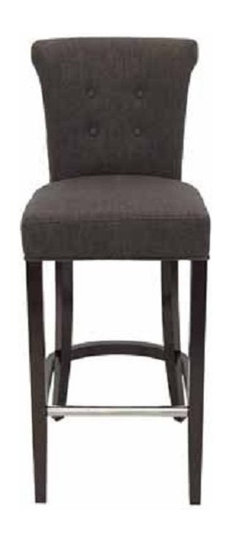 Roll Back Fabric Stool With Tufted Back And Metal Footrest