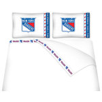 Sports Coverage - Sports Coverage NHL New York Rangers Microfiber Sheet Set - Twin - NHL New York Rangers Microfiber Sheet Set have an ultra-fine peach weave that is softer and more comfortable than cotton! This Micro Fiber Sheet Set includes one flat sheet, one fitted sheet and a pillow case. Its brushed silk-like embrace provides good insulation and warmth, yet is breathable. It is wrinkle-resistant, stain-resistant, washes beautifully, and dries quickly. The pillowcase only has a white-on-white print and the officially licensed team name and logo printed in team colors. Made from 92 gsm microfiber for extra stability and soothing texture and 11 pocket. Sheet Sets are plain white in color with no team logo. Get your NHL Sheets Today.   Features:  -  92 gsm Microfiber,   - 100% Polyester,    - Machine wash in cold water with light colors,    -  Use gentle cycle and no bleach,   -  Tumble-dry,   - Do not iron,